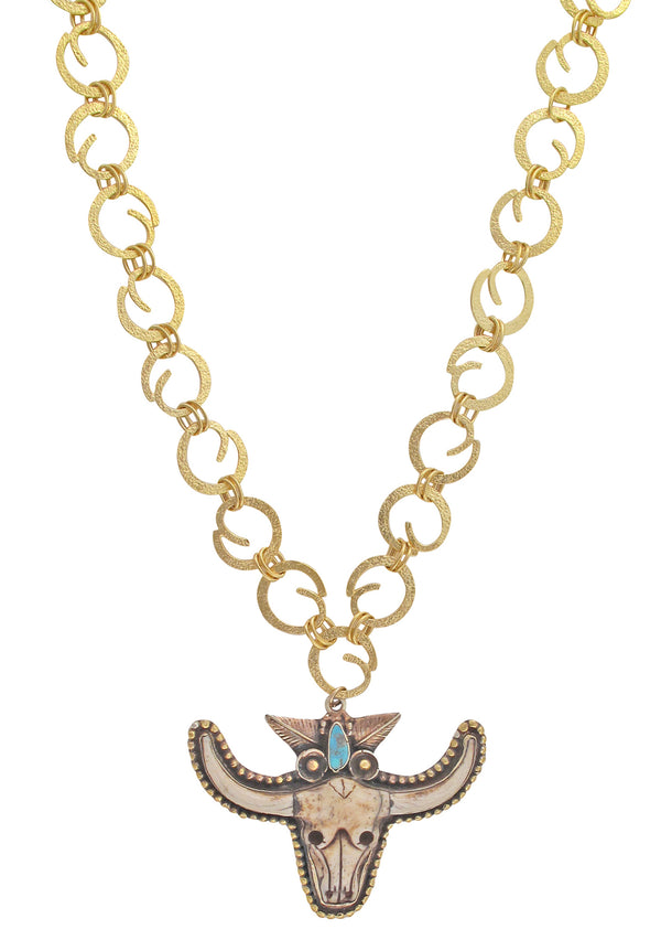 Devon Leigh | One of a kind, hand-made Nepalese carved bone white bull head pendant statement necklace, with authentic turquoise accent and 18K gold plated Balinese chain.