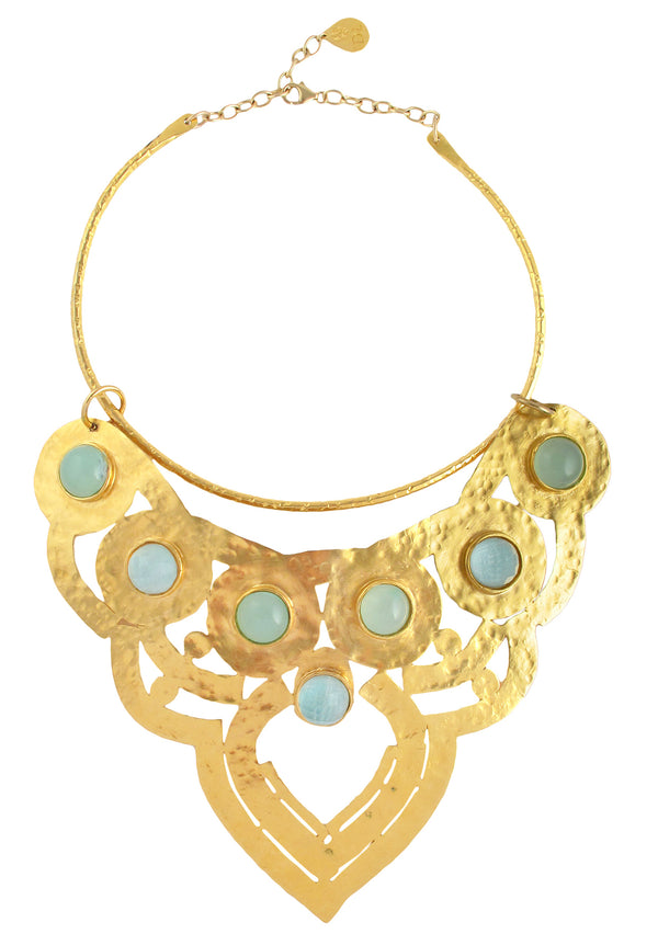 One of a Kind Aqua Chalcedony Gold Plate Necklace