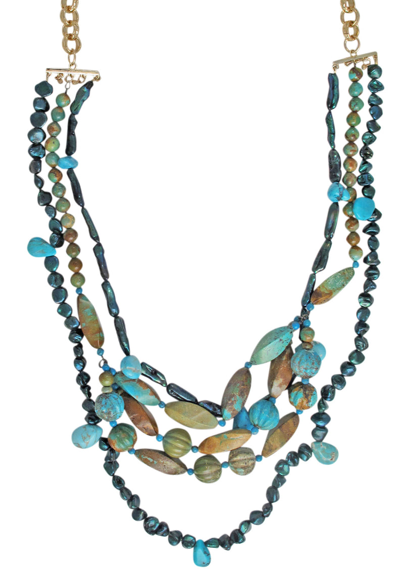 Long Multistrand Freshwater Pearl and Turquoise Necklace
