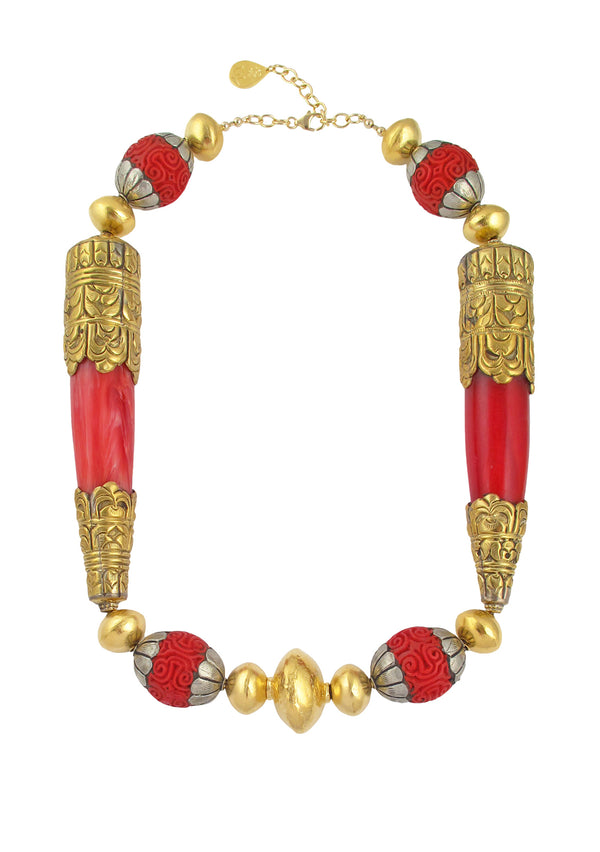 Coral Brass Gold Accent Necklace