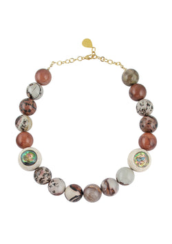 Marble Jasper Abalone Accent Necklace
