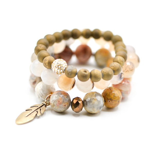 crazy lace agate bracelet, druzy and pave' bracelet, boho feather charm bracelet, stack of bracelets