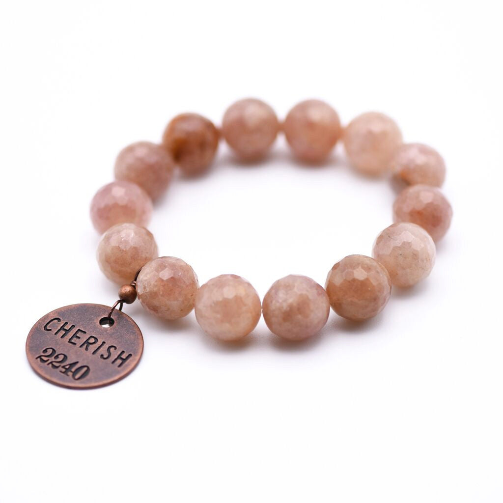 cherish bracelet with blush quartz gemstone
