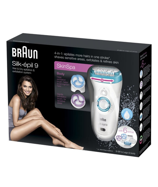Braun Silk Epil 9 9-961e Wet and Dry Epilator and Exfoliation System with 6 Extras, White - Personal Grooming