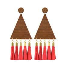 Load image into Gallery viewer, Overzise maxi statement triangular wood earrings with red paper tassels
