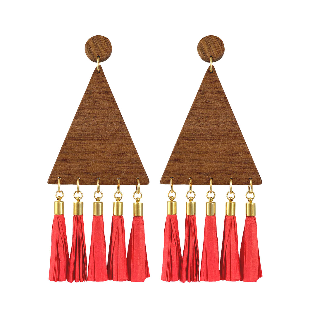 Overzise maxi statement triangular wood earrings with red paper tassels