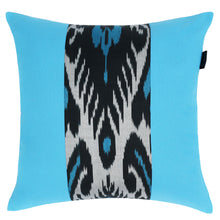 Load image into Gallery viewer, Colorblock turquoise and black ikat pillow cover