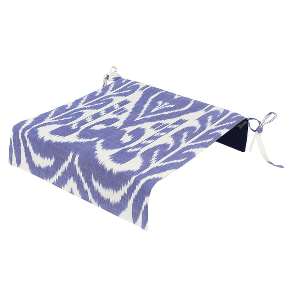 Garden chair ikat seat cover in blue and white
