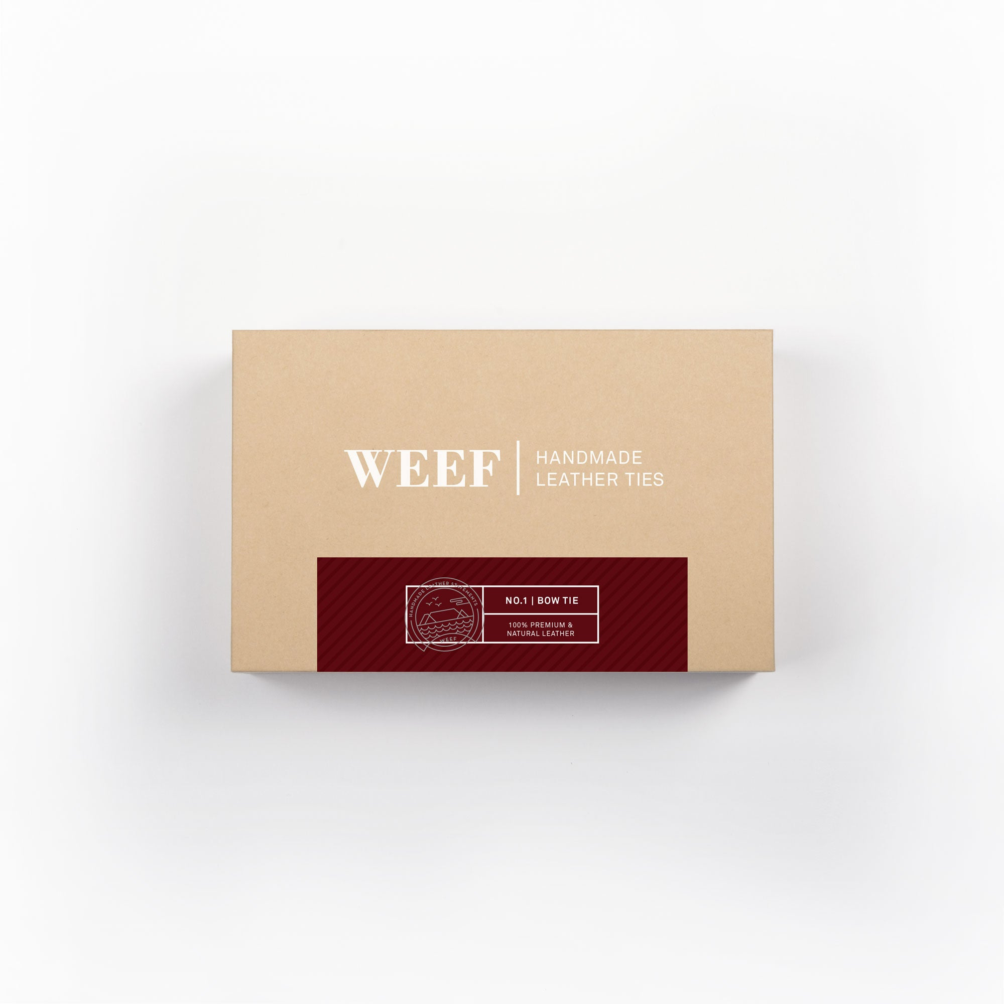 This is the premium packaging box of the oxblood red WEEF handmade leather bow tie.