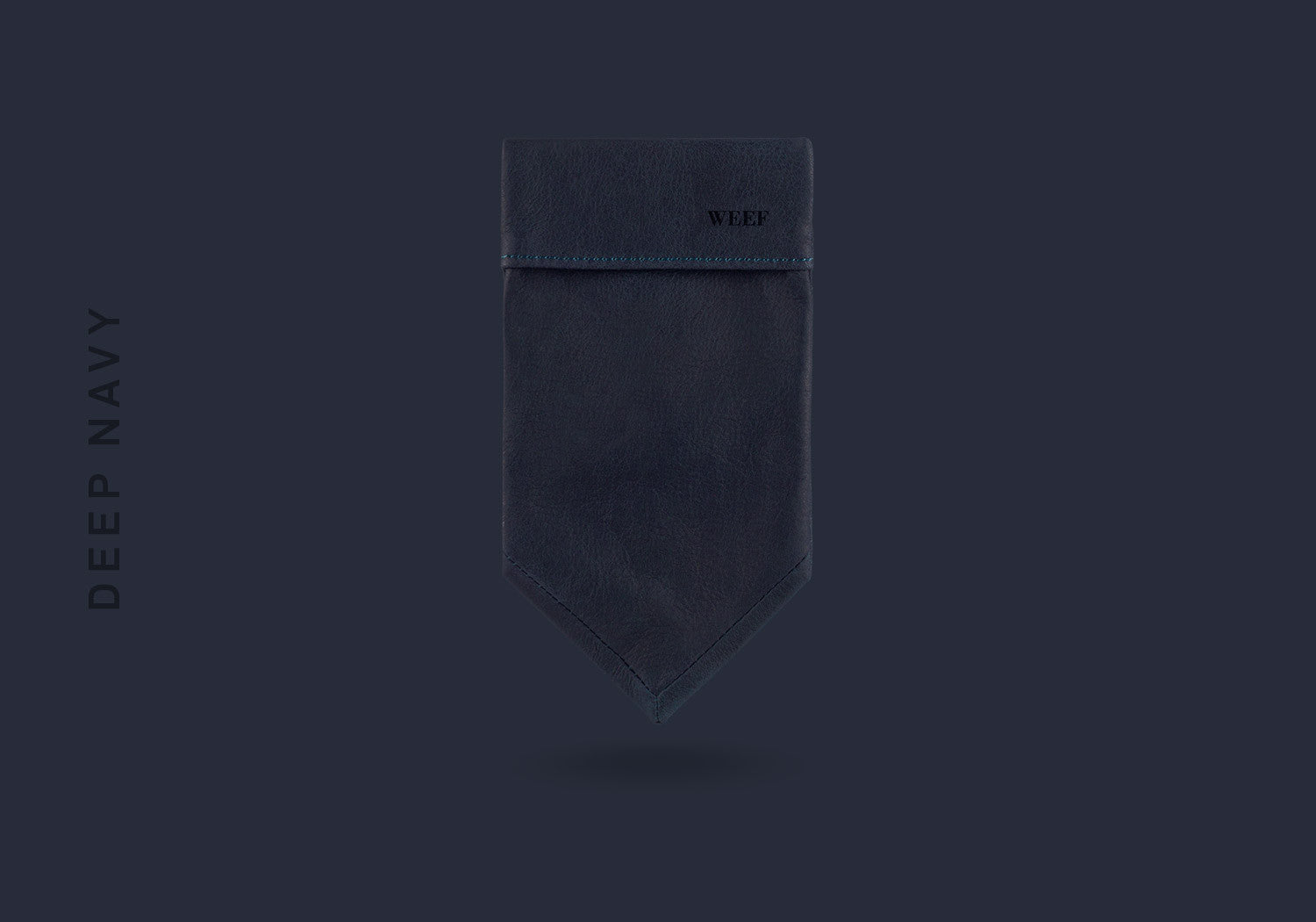 This deep navy WEEF handmade leather pocket square is a great present or gift idea for dapper and stylish gentlemen for fathers day, valentines day or Christmas.
