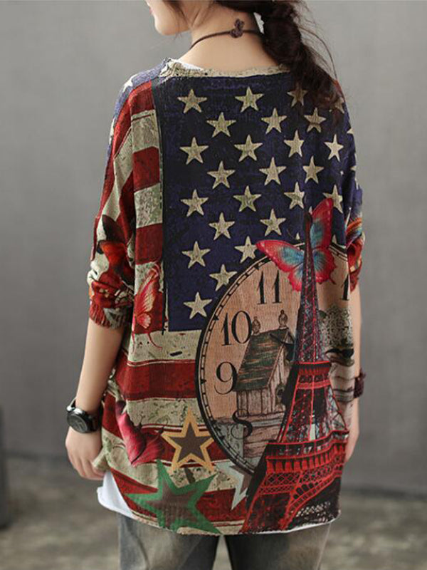 Aida Vintage Contrasting Star Print Knit Top