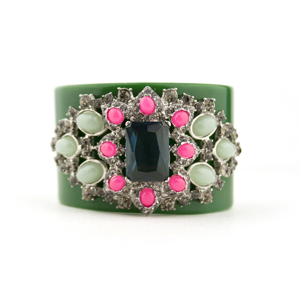 Bold Green Cuff Bracelet with Pink Accents