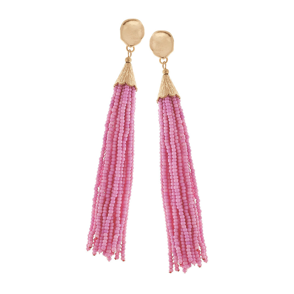 Light Pink Seed Beaded Tassel Earrings