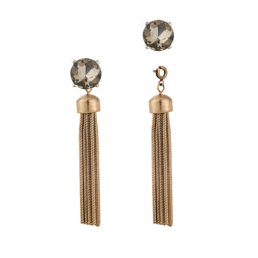 Convertible Metal Tassel Earrings with Champagne Studs