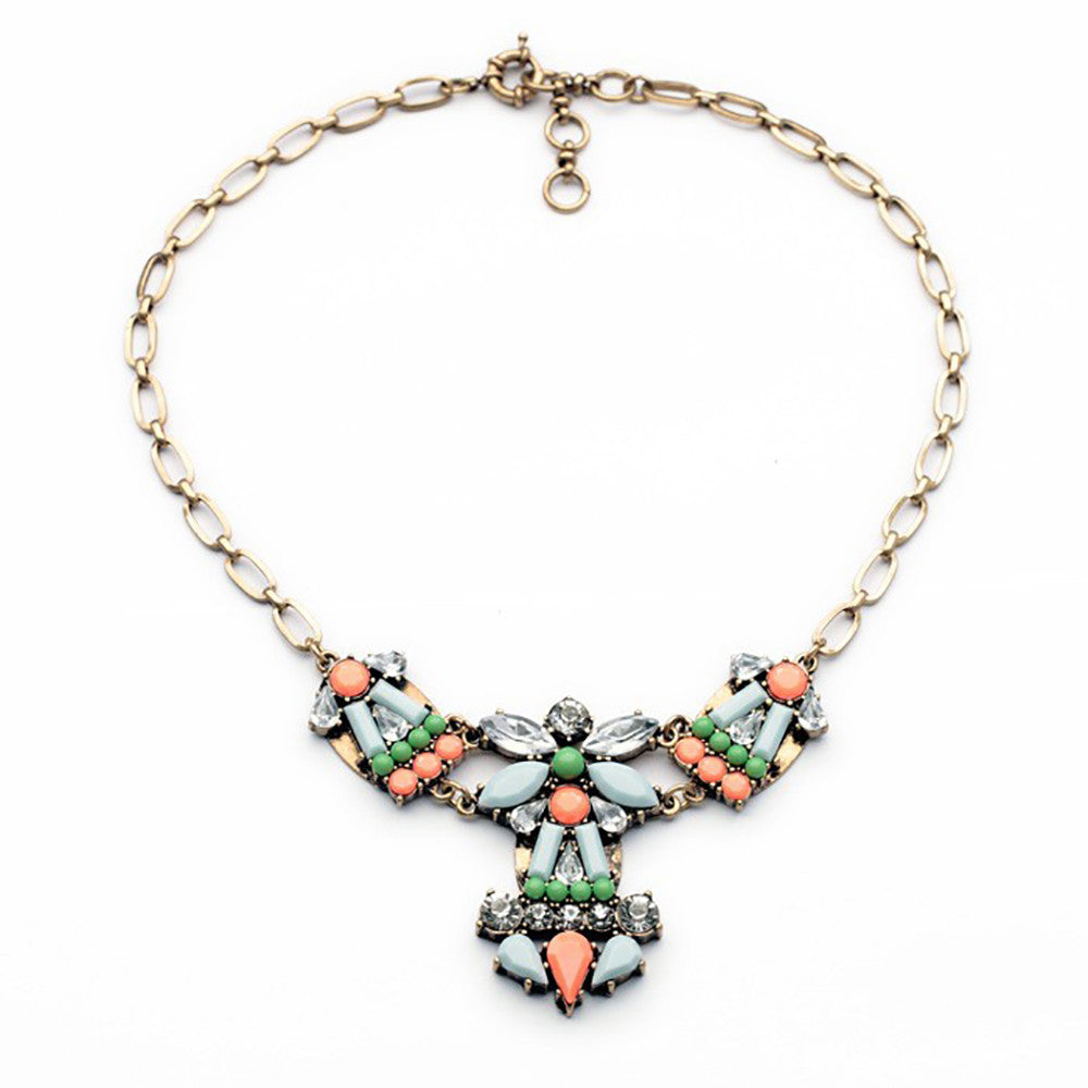 Multi-Colored Matte Gem Statement Necklace