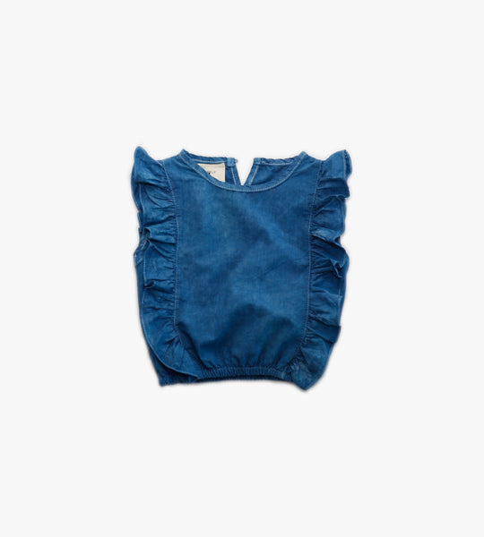 Garment Dyed Ruffle Blouse - Dark Wash