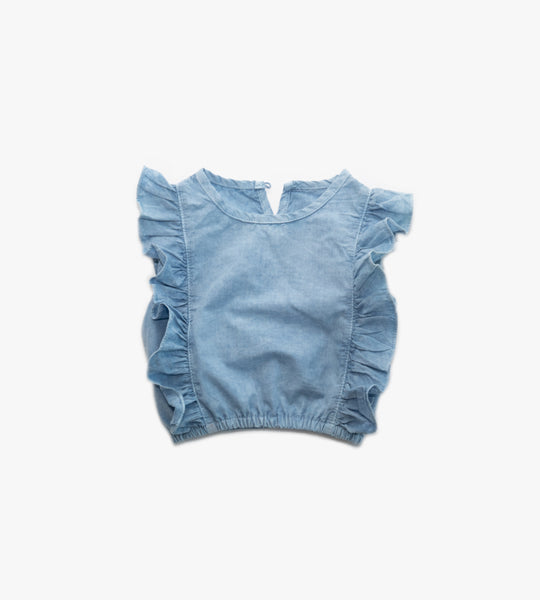 Garment Dyed Ruffle Blouse - Light Wash