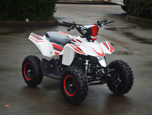 49cc Mini Quad ATV in red/white combo parked diagonally facing forward to the right