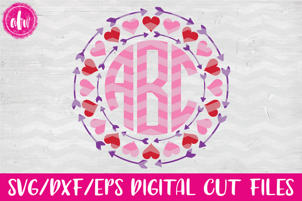 Valentine Arrow Monogram Frame - SVG, DXF, EPS
