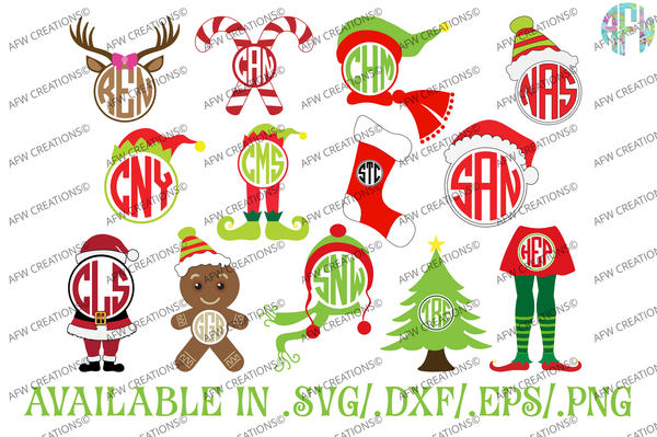 *Christmas Monogram Bundle - SVG, DXF, EPS