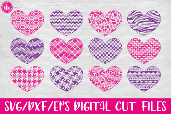 Pattern Hearts - SVG, DXF, EPS