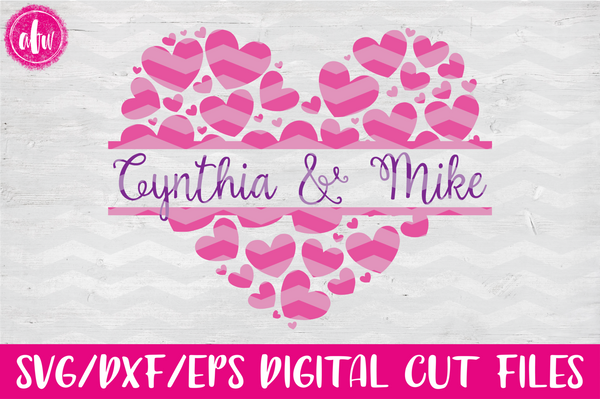 Split Heart - SVG, DXF, EPS