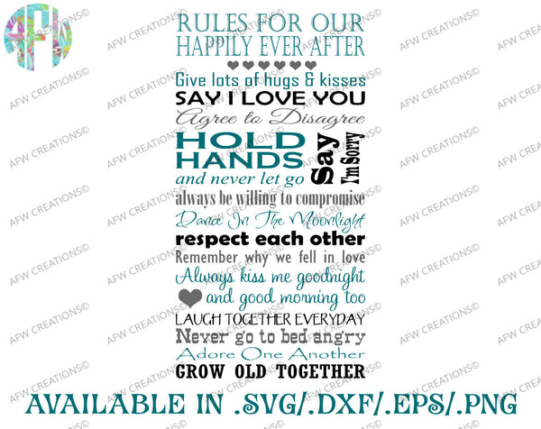 Rules For Our Happily Ever After - SVG, DXF, EPS
