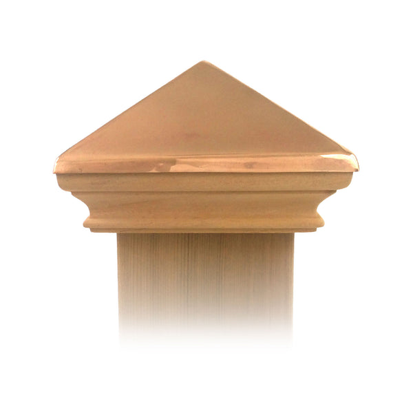 West Indies Wood Post Cap w/ Copper Pyramid - 4x4, 5x5, 6x6, 4x6