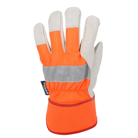 Horizon Hi Vis Cowhide Palm Lined Glove - Orange