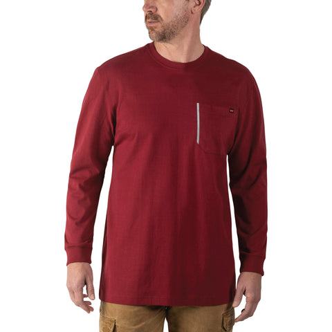 Walls Men's Heavy Lifter Long Sleeve Work Shirt - Dark Red