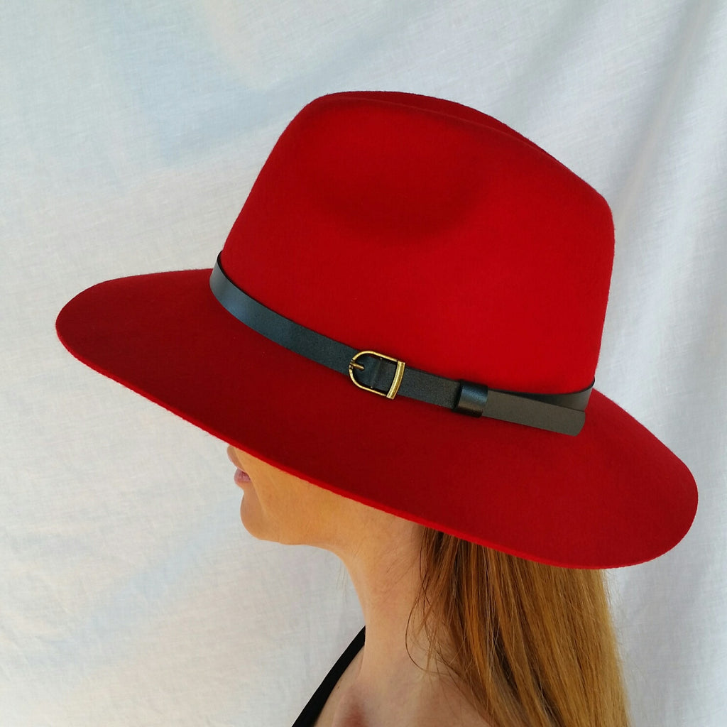 Fedora Hat Red by Little Dove Boutique