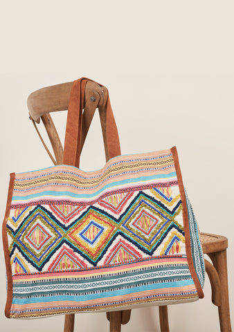 Embroidered Beaded Tote
