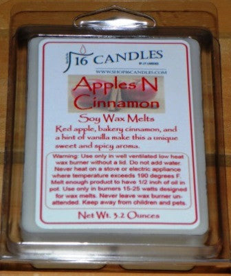 Apples N Cinnamon ~ Soy Wax Melts - 16 Candles by J.P. Lawrence