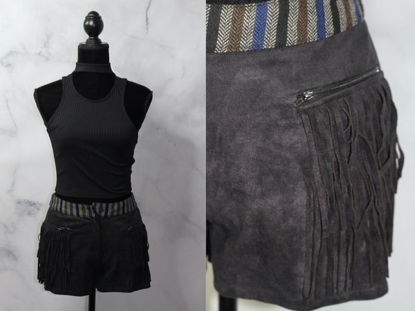 Tribal Fringe Faux Suede Shorts (S-M)