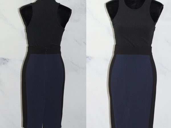 Zara Basic Blue & Black Skirt (S)