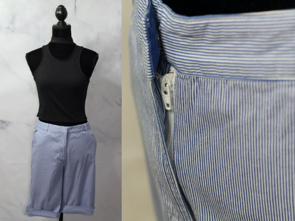 Kim Rodgers Blue & White Stripe Cotton Shorts (6)