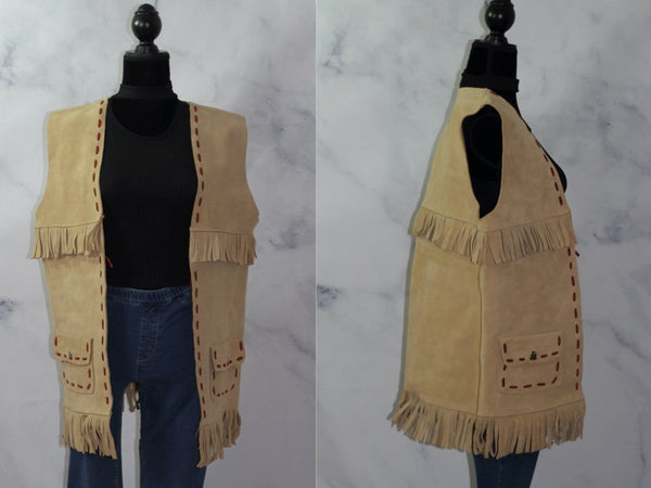 Handmade Suede Leather Detail Tribal Vest