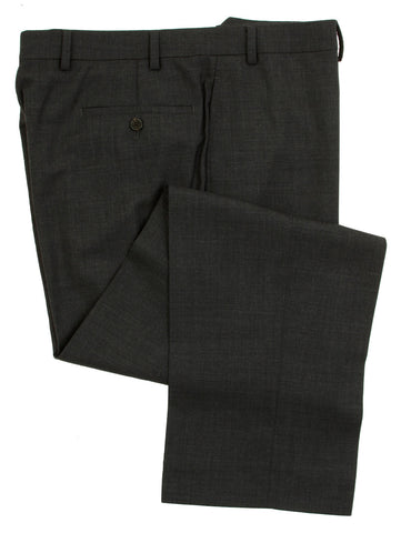 Ralph Lauren Men's Flat Front Solid Charcoal Gray Wool Dress Pants