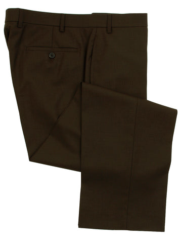 Ralph Lauren Men's Flat Front Solid Brown Wool Dress Pants