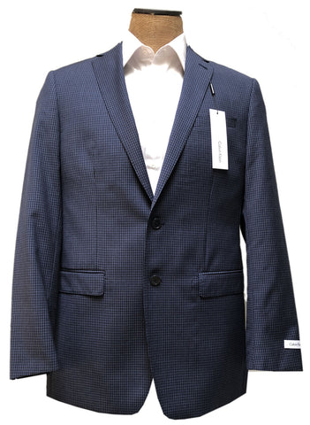 Calvin Klein Mens Navy Blue Check Wool Sport Coat Jacket