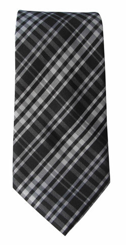 Brand Q Mens Plaid Black White Neck Tie + Pocket Square