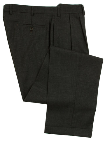 Ralph Lauren Mens Double Pleated Charcoal Gray Wool Dress Pants - Size 40 x30