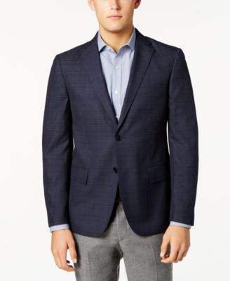Ryan Seacrest Distinction Mens Blue Gray Windowpane Sport Jacket 42S