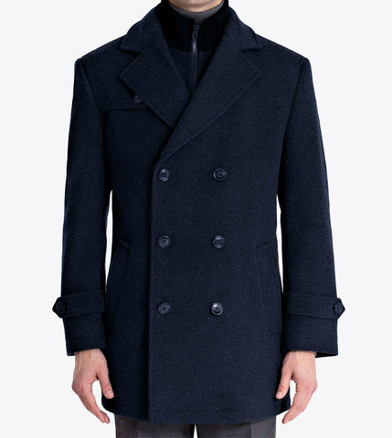 Mens Ralph Lauren Navy Blue Wool Blend Double Breasted Peacoat Jacket 42R
