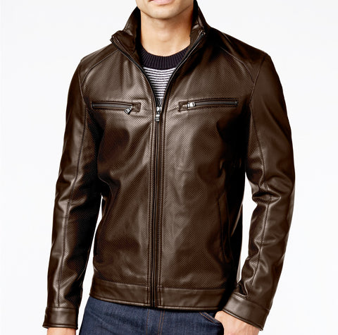 Michael Kors Mens Perforated Faux-Leather Moto Jacket Coat Brown Espresso Small