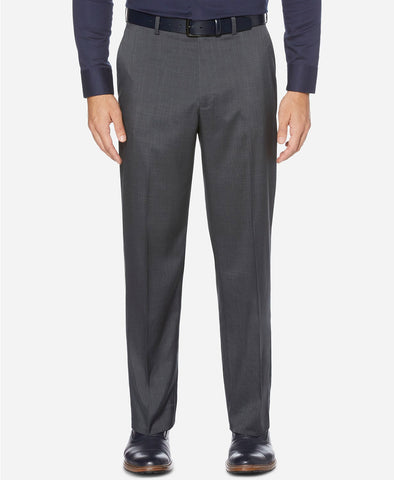Mens Perry Ellis Gray Plaid Regular Fit Polyester Blend Dress Pants 44X32