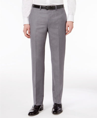 Mens Calvin Klein Gray Solid Slim Fit Polyester Blend Dress Pants 33X30