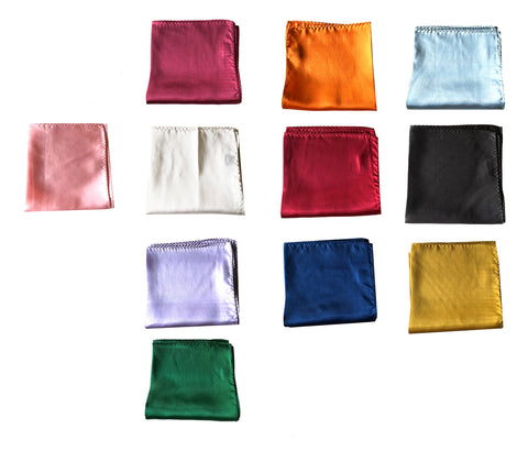 "NEW Lot of 11 Solid 100% Silk Pocket Squares - Multi Colors -12.5"" x 12.5"""