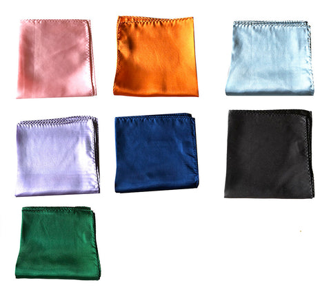 "NEW Lot of 7 Solid 100% Silk Pocket Squares - Multi Colors -12.5"" x 12.5"""