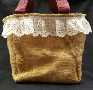 "QT004 Plain Burlap with 2"" lace - Bandana ATM University liner - Trinkets & Things Handmade with Aloha"